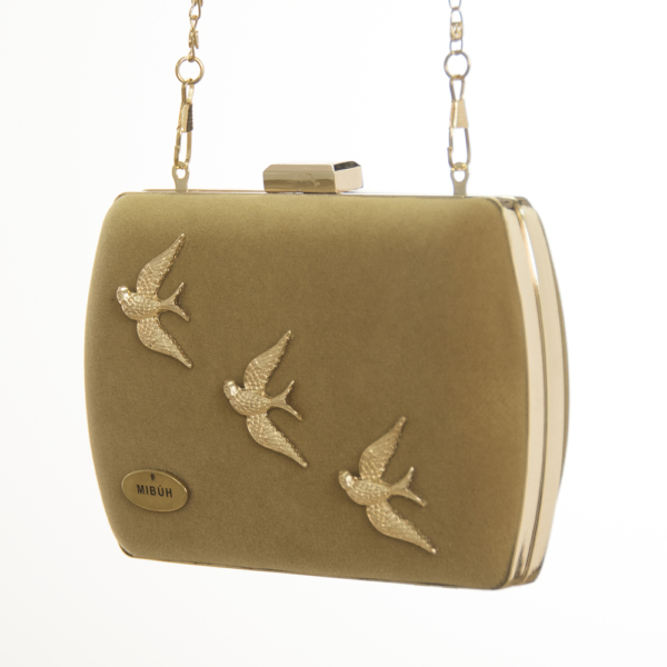 bolso clutch mibuh feather